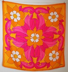 Vintage Vera Scarf Floral Hot Pink Hot Orange Ladybug No Tag