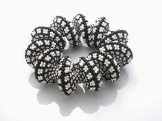 Suzanne Golden spiral beaded black/white bracelet...gorgeous