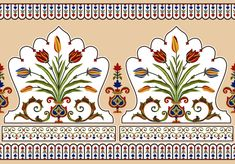 Boarder Designs, Border Embroidery Designs, Border Pattern, Pattern Design, Border Tiles, Elements Of Art, Design Elements, Mughal Paintings, Spider Art