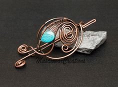Antique Copper hair bun slide copper Hair by MusawwarCreations