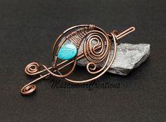Antique Copper hair bun slide copper Hair by MusawwarCreations