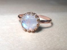 Rainbow Moonstone Ring 14k Pink Rose gold stacking by AWildViolet, $58.00