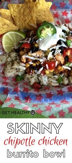 """This lighter Chipotle chicken burrito bowl recipe saves you around 320 calories and 14 grams of fat vs. the restaurant version. This """"skinny"""" bowl is just as delicious, more economical, and you don't have to wait in line!"""