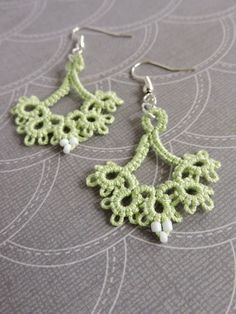 Orchid Green Lace Floret Earrings with White Glass Seed Beads and Silver Plated Earwires Lace Jewelry, Unique Jewelry, Jewellery, Green Lace, Seed Beads, Silver Plate, Orchids, Crochet Earrings, Trending Outfits
