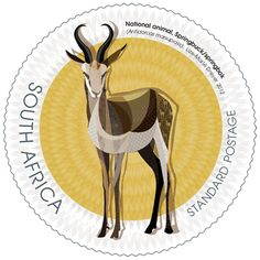 The springbok has adapted to dry, barren areas and open grass plains and is thus found especially in the Free State, the North West province and in the Karoo up to the west coast. Africa Symbol, North West Province, Office Stamps, South African Design, Visit South Africa, National Animal, National Symbols, African Animals, African Art