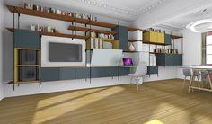 Changer : créer des rangements et un bureau dans un salon salle à manger