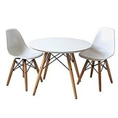 Amazon.com: Buschman Set Of Table And 2 White Kids Eames Style Retro Modern  Dining Room Mid Century Shell Chair Metal Natural Wood Dowel Leg Base  Plastic ...
