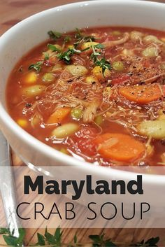 Maryland Crab Soup/This is the recipe I use. I add 4 cups of water instead of 2 and I double the Old Bay. I add 1/2 pound of claw meat also. Tried and true great recipe.