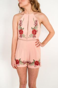 Trapeze top romper with sheer detailing at waist with zipper back. Floral embroidered accents on hips and bust.  Calling Lovelies Romper by Frolic by Celebration. Clothing - Jumpsuits & Rompers Virginia