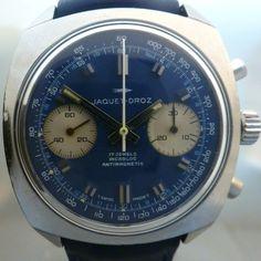 JAQUET DROZ vintage chrono  with  gorgeous blue dial
