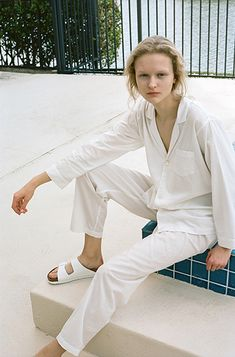 Paille-Maille: Alexander Olch PJ Shirt and PJ Pant, Birkenstock White Leather Arizona Sandal