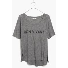 MADEWELL Bon Vivant Tee ($32) ❤ liked on Polyvore featuring tops, t-shirts, hthr pewter, draped tee, draped t shirt, drape top, madewell and madewell t shirts