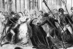 Grabado histórico que recrea el intento de regicidio perpetrado por el cura Martín Merino el 2 de febrero de 1852 cuando atacó a la reina Isabel II en las galerías del Palacio Real de Madrid. La reina quedó herida, aunque de levedad y Martín Merinopagaría su intento con la muerte cinco días después mediante garrote vil. La inestabilidad seguía establecida y dos años después Isabel II tuvo que enfrentar uno de los múltiples pronunciamientos militares que se producirían en España en el siglo…