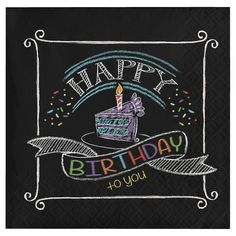 These Chalk Birthday Beverage Napkins show off a colorful birthday cake design along with the words HAPPY BIRTHDAY to you Happy Birthday 手書き, Happy Birthday Chalkboard, Happy Birthday Images, Birthday Greetings, Birthday Cards, Chalkboard Art Quotes, Chalkboard Lettering, Chalkboard Designs, Chalkboard Walls