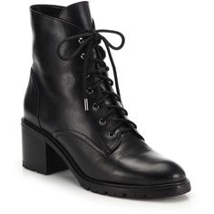 Joie Bridgette Lace-Up Leather Combat Boots ($415) ❤ liked on Polyvore featuring shoes, boots, ankle booties, apparel & accessories, black, lace up boots, leather boots, black leather booties, military boots and black lace up booties