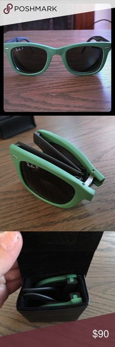Folding polarized Ray Bans seafoam green These are amazing sunglasses!!! I got for last summer but never wore. The lenses are polarized and prescription is -6 for each lens. Who ever purchases can always have the lens replaced with a non prescription lens. The sunglasses fold up into the leather case that has a magnetic closure. The lenses have no scratches on them. Negotiable price Ray-Ban Accessories Sunglasses