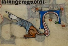 Marginalia. A decorative element drawn linke the tail of a beast with a sleeve-wearing human forearm for a head.