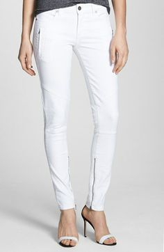 cute white skinny jeans - love the ankle zippers