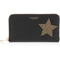 Henri Bendel West 57th Star Zip Around Continental Wallet (£155) ❤ liked on Polyvore featuring bags, wallets, studded wallet, continental wallet, zipper coin purse, coin purse wallets and change purse wallet