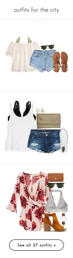 """outfits for the city"" by thatprepsterlibby ❤ liked on Polyvore featuring Charlotte Russe, H&M, Aéropostale, J.Crew, Aerie, J Brand, 3x1, Converse, Kendra Scott and Victoria's Secret"
