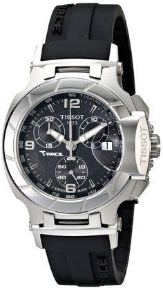 Tissot Women's T0482171705700 T-Race Black Dial Rubber Strap Watch