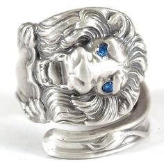 Victorian Lion Sterling Silver Spoon Ring with Blue by Spoonier, $98.00