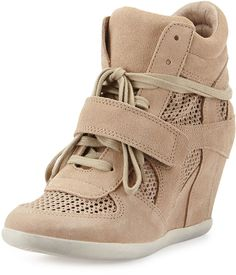 59c8bfa673644 Shop Bowie Mesh Suede Wedge Sneaker, Chamois from Ash at Neiman Marcus Last  Call, where you'll save as much as on designer fashions.