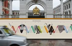 Construction hoardings are large boards that are built for a temporary period of time, to shield renovations that are happening behind the hoarding. These boards will eventually be pulled down. Environmental Graphics, Environmental Design, Signage Design, Banner Design, Fence Design, Wall Design, Hoarding Design, V & A Museum, Construction