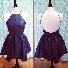 Simple Short Navy Blue Party Dress Halter Cute Dresses for Women