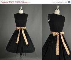 New Year Sale 1950s Dress full skirt black by NodtoModvintage