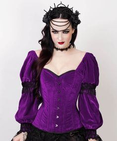 2cac8c0100f Robbie Gothic Overbust Purple Corset with Attached Sleeve