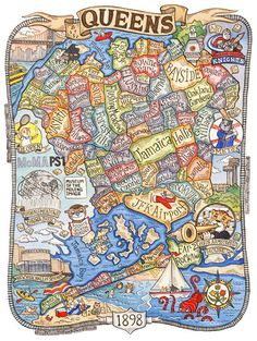 Queens New York Neighborhood Map! This is a print from an original watercolor and ink illustration. The image measures 9 x 7 printed on 8 x 10 Map Of New York, New York City, Queens Nyc, Queens New York, Carte New York, New York Neighborhoods, Astoria Queens, Astoria Park, New York