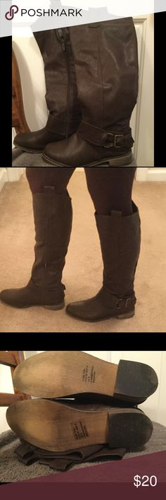 """Dark brown knee high boots Dark brown knee high boots.  Man made materials.  Inside side zipper for easy on/off.  Shaft with heel measures 17.5"""" , heel is 1.75"""" and measures 14.5 """"around top of calf.   Worn about 2-3 times.  Boots are just a little to high for my taste.  Very stylish! Breckelles Shoes Heeled Boots"""