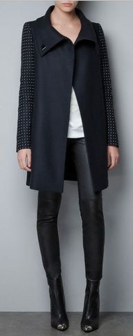 studded sleeves and leather leggings