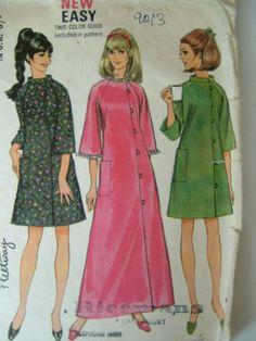 Vintage McCalls 60s dress/robe pattern No. 9103 size 14