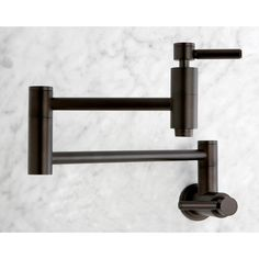 Add eye-catching style with this wall-mount kitchen faucet. The faucet's clean lines and rich oil-rubbed bronze finish give it a striking contemporary look while echoing traditional design cues… Contemporary Kitchen Faucets, Black Kitchen Faucets, Bathroom Faucets, Kitchen And Bath, Kitchen Sinks, Kitchen Islands, Diy Kitchen, Modern Bathroom, Kitchen Decor