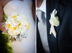 White bouquet and boutonniere.  www.mikiandsonja.com