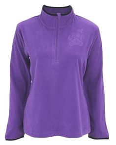Purple Paw Impressions Quarter Zip Pullover Top - Paw Print Fleece Shirt…