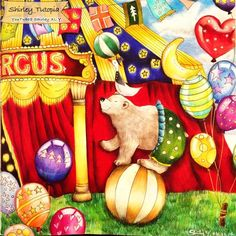 Circus from Romantic Country Adult Coloring book by Toothpick-Artist, Eriy. Colored by Shirley XL. Y. (YouTube)/Shirley tutopia