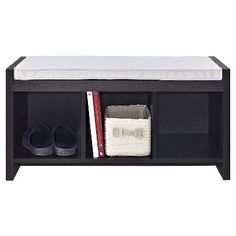 Penelope Entryway Storage Bench with Cushion - Espresso - Ameriwood Home, Brown
