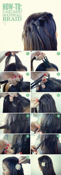 Waterfall Braid Tutorial.  #braid #hair #hairstyle #brunette #DaftPink #Beauty