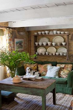 This rustic sitting room is homey-ness at its finest — although we admit that we might be a bit biased by the charming pup!