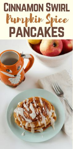 With a cinnamon swirl and a cream cheese glaze, these pumpkin spice pancakes will become a family favorite throughout the fall and on Thanksgiving morning. #recipes #ThanksgivingRecipes #FallRecipes #AutumnFood #PumpkinRecipe #PumpkinSpice #Cinnamon #pancakes #Breakfastbest