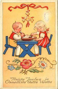 Resultado de imagen de Aakkoset  wendelin Christmas Past, Vintage Christmas Cards, Scandinavian Christmas, Christmas Images, Xmas Cards, Holiday Cards, Swedish Christmas Traditions, Retro Graphic Design, Pretty Drawings