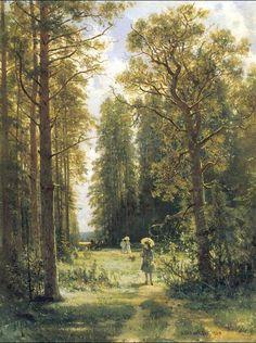 Oil Shishkin Ivan Ivanovich Russia artist Edge of deciduous forest no framed