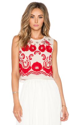 Needle & Thread Sequin Lace Ribbon Top in Dust Rose & Red | REVOLVE