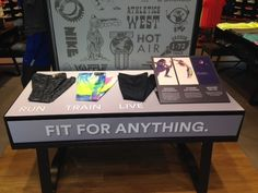 Nike Tights Dri-Fit Knit retail table display women's tights display.