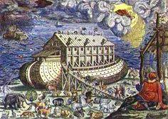 La construcción del arca como un grabado de una Biblia alemana, siglo XV