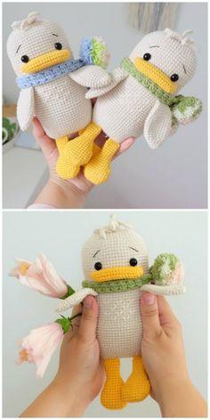 Crochet Duck Patterns You Will Love - Amigurumi Crochet Animal Patterns, Crochet Patterns Amigurumi, Crochet Animals, Crochet Dolls, Crochet Stitches, Knitting Patterns, Easter Crochet, Cute Crochet, Crochet For Kids