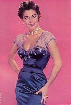 Ava Gardner in a lovely purple dress.